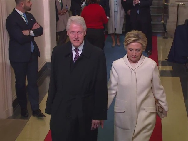 Bill and Hillary Clinton arrive at the 2017 inauguration