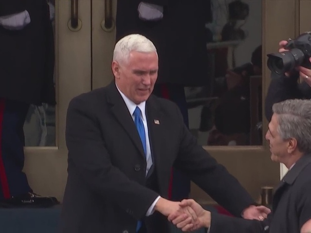 Mike Pence is presented at the Presidential inauguration ceremony
