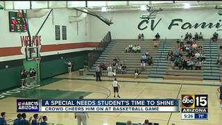 Special needs boy scores big at basketball game