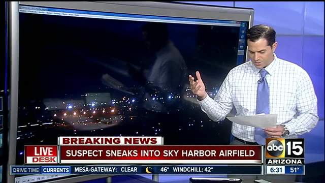 PD- Suspect enters secure area of Sky Harbor- damages equipment