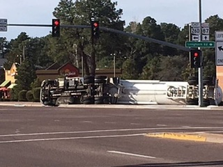 Propane tanker overturns in Payson intersection