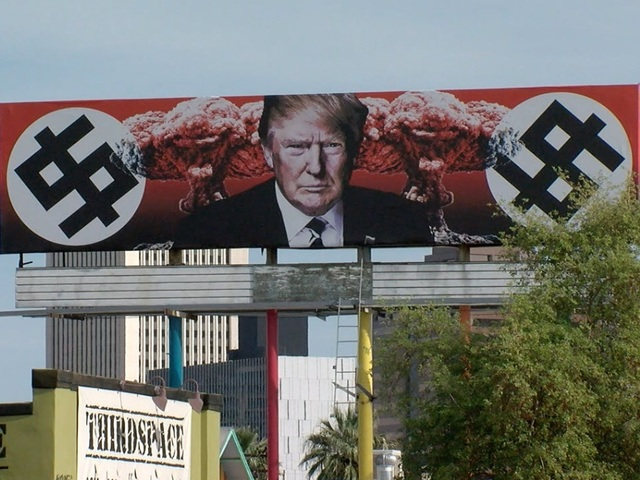 Controversial Arizona billboard depicts President Trump with swastikas, mushroom clouds