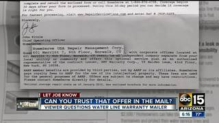 Some skeptical of water line warranty mailer