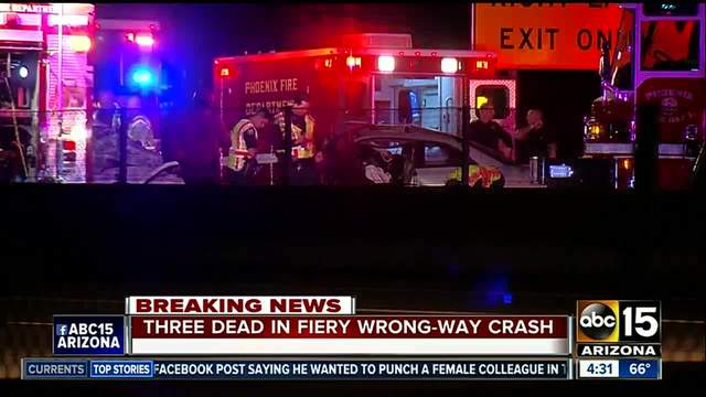 3 killed in wrong-way crash on Phoenix freeway
