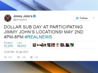 You can get a Jimmy John's sub for $1 next week