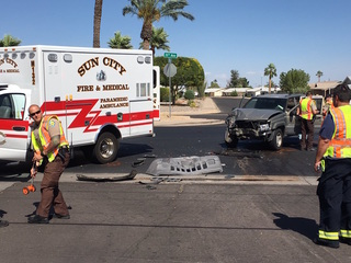 Two hospitalized after crash involving ambulance