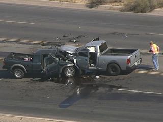 Two trucks collide head-on near El Mirage