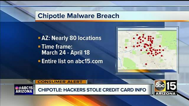 Arizona Locations Included In Chipotle Data Breach ABC Arizona - Map of chipotle locations in the us