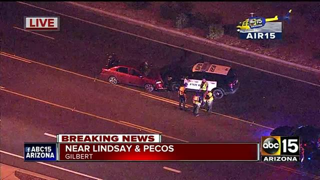 Gilbert police cruiser hits vehicle driving recklessly head on
