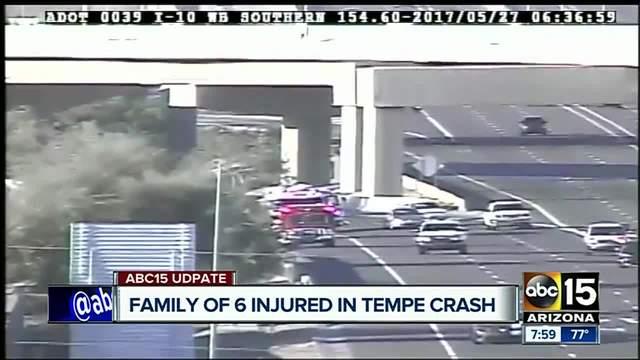 Family of 6 injured in Tempe freeway crash