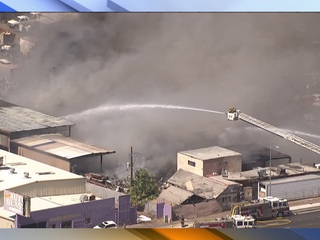 First-alarm junkyard fire burns in Phoenix
