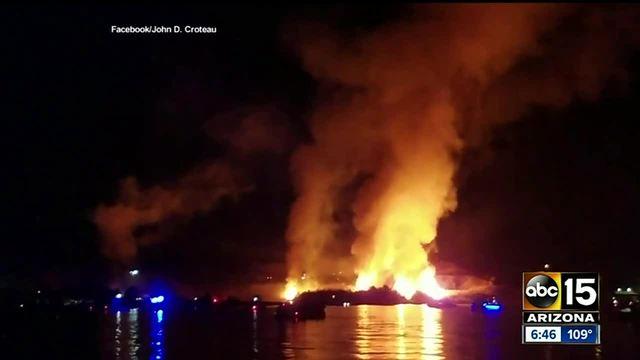 Fireworks display sets blaze at Arizona river resort