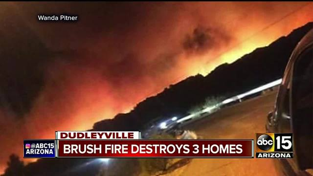 Three homes destroyed in eastern Arizona brush fire, evacuations underway