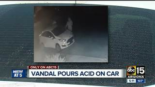 Acid poured over vehicle, tires slashed
