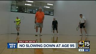 95-year-old plays racquetball for birthday