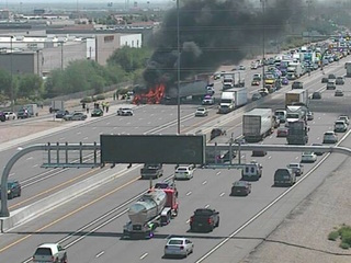 VIDEO: Semi-truck catches fire on I-10 near Ray