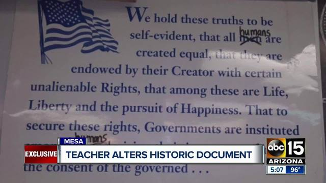 Teacher changes words in Declaration of Independence