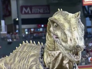 Dinosaur 'throws' 1st pitch at D-backs game