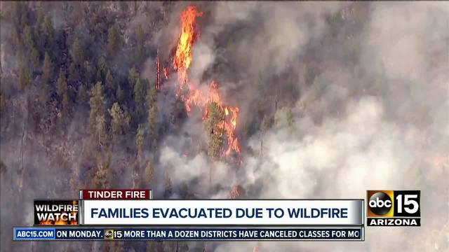 The Tinder Fire has grown over 8,000 acres and continues to burn throughout a region of the Coconino National Forest forcing hundreds to evacuate