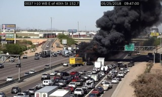 Massive truck fire at I-10/40th Street