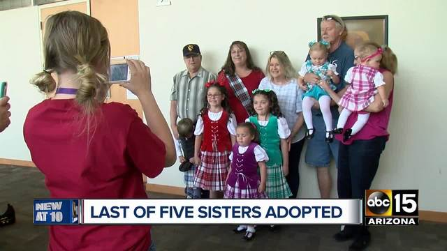 Last of five sisters adopted into same family on National Adoption Day