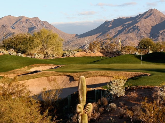 The par three 11th hole on The Tallon Course at the Gray Hawk Golf Club Scottsdale in Scottsdale Arizona. Getty Images