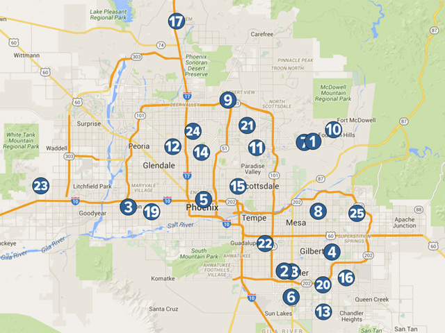 MAP Top High Schools In The Valley ABC Arizona - Arizona map
