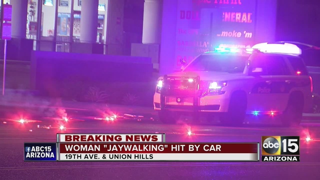 The Pedestrian Was Struck Near 19th Avenue And Union Hills Drive