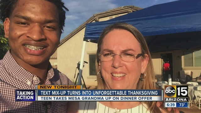 Grandma who sent wrong text reunites with teen on Thanksgiving