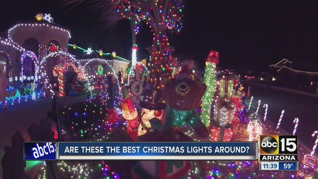 two arizona homes have decked out their homes for christmas for abcs the great christmas light fight