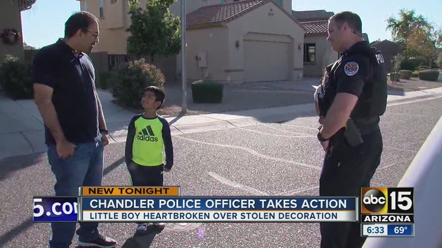 chandler officer helps brighten day of boy whose inflatable christmas decoration was stolen - Police Officer Christmas Decorations
