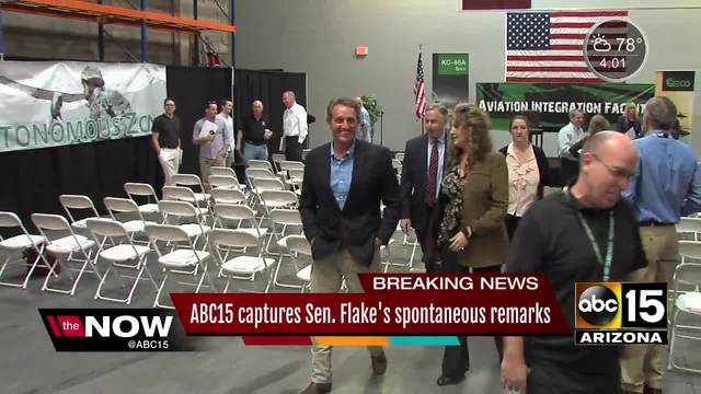 ABC15's microphone picked up a conversation between Senator Flake and Mesa's major Giles joking about President Trump