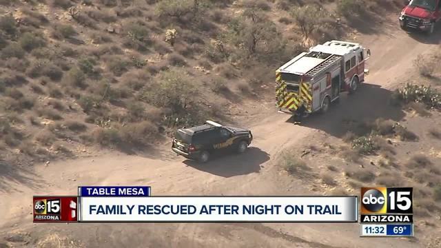Family rescued after night on trail in New River