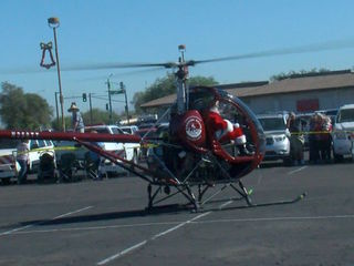 Santa's helicopter lands in the Valley