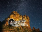 So cool! Light show projected on Sedona rocks