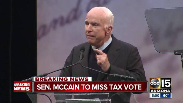Senator John Mc Cain is returning to Arizona after receiving brain cancer treatment and is expected to miss the tax reform vote