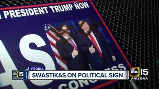 Campaign sign defaced with swastikas in Peoria