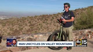 Valley man unicycles mountain trails