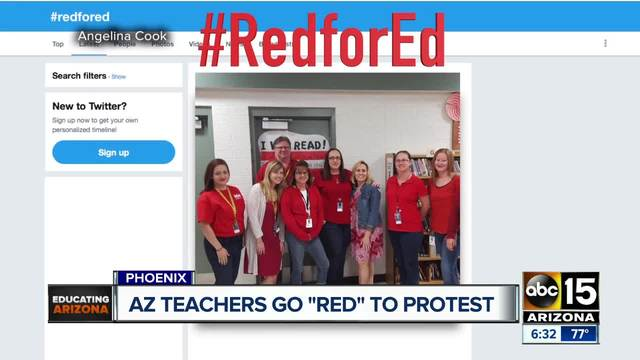 AZ Teachers Wear Red to Protest Low Wages