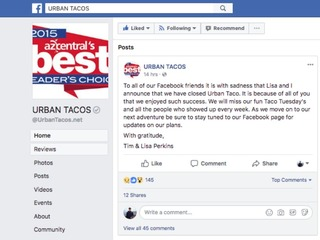 Urban Taco in Phoenix has closed