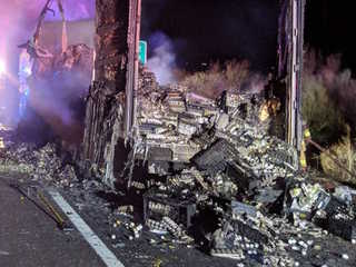 Semi carrying eggs catches fire on I-17