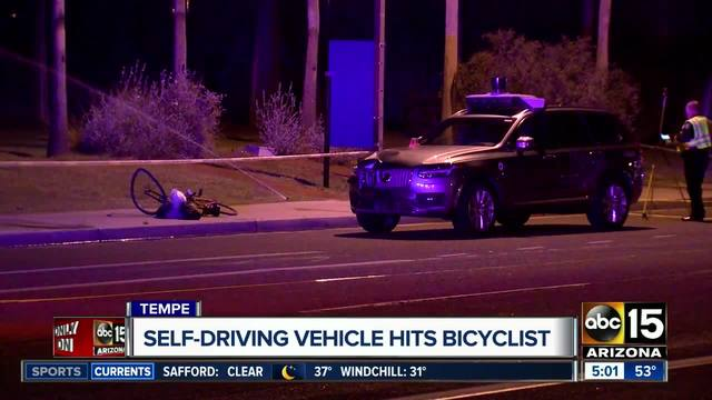 Tempe police are investigating a crash involving a self-driving Uber vehicle overnight