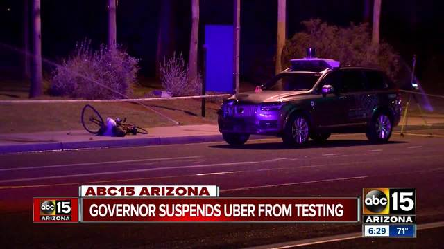 Arizona suspends Uber's driverless auto  testing after deadly accident