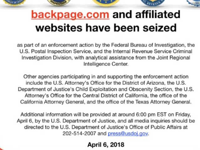 Federal Bureau of Investigation seizes classified site Backpage.com
