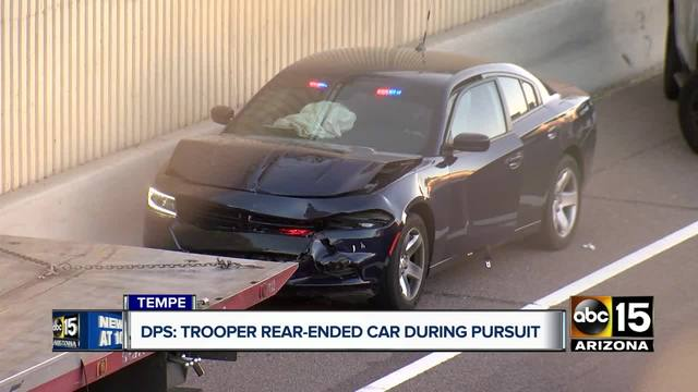 DPS trooper involved in crash in Tempe during pursuit- suspect at large