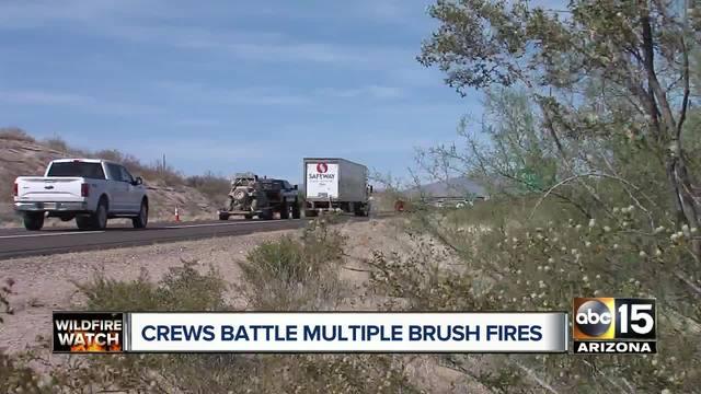 Crews battle human-caused brush fire near Sunflower