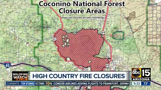 Coconino National Forest areas closing due to fire, safety issues ...