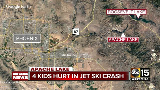 Four kids hurt in jet ski crash at Apache Lake