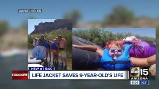 Girl credits life jacket for saving her life