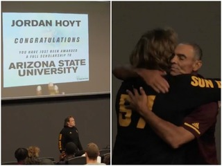 ASU surprises football player with scholarship